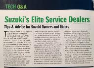 Photo of an article in Tech Q&A with the headline Suzuki's Elite Service Dealers""