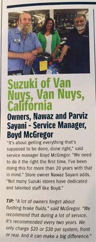 Clipping from a magazine article saying Suzuki of Van Nuys, Van Nuys, California: Owners, Nawaz and Parvis Sayani - Service Manager, Boyd McGregor...